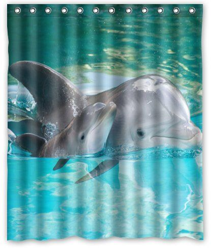 Attractive Dolphins 100% Polyester Shower Curtain | Foregather.net