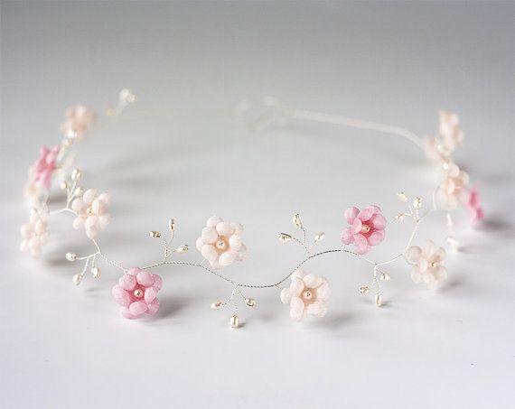 Wedding headband, Flower wedding headband, Pink tiara, Pink wedding headband, Flower wedding headbands, Floral headband wedding, Tiara.