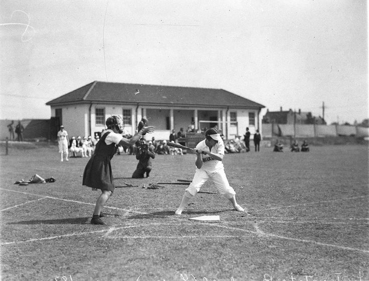 Photograph of the Women's interstate baseball teams at the University of Sydney Hockey Field in  about 1932. Part of Sam Hood's news photo series. From the collections of the Mitchell Library, State Library of New South Wales : http://www.acmssearch.sl.nsw.gov.au/search/itemDetailPaged.cgi?itemID=9733