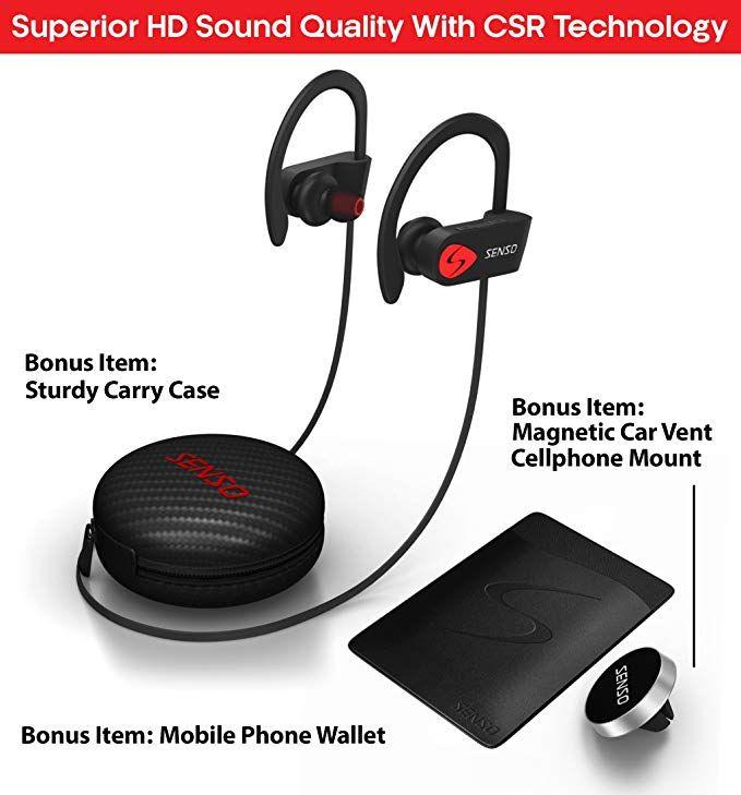 Senso Bluetooth Headphones Best Wireless Sports Earphones W Mic Ipx7 Waterproof Hd Stereo Sweatp Noise Cancelling Headset Sport Earphones Bluetooth Headphones