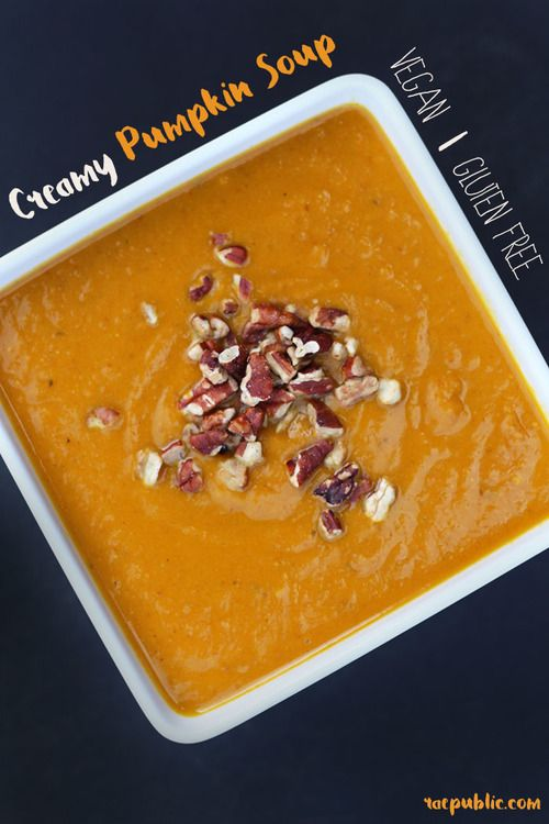 Delicious, vegan creamy pumpkin soup! This plant-based soup gets it's tasty goodness from coconut milk so it is naturally dairy-free and all can enjoy!
