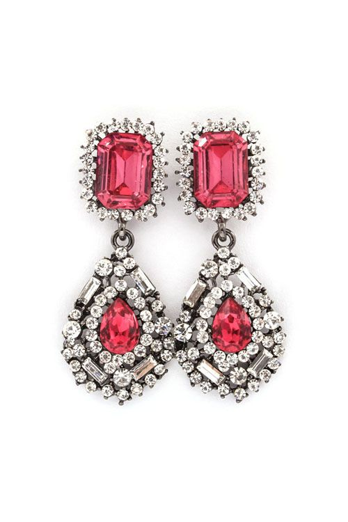Delphine Crystal Earrings in Raspberry