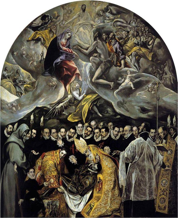 엘 그레코, 오르가스 백작의 매장, 1586~88, 톨레도 산토토메 교회. 아래 오르가스 백작이 매장되는 순간 과거의 성인들이 나타나 도왔다는 전설을 그렸다. 아래 현실적인 세상과 위로 신비로운 천상의 세계를 대비시킨 걸작이다.