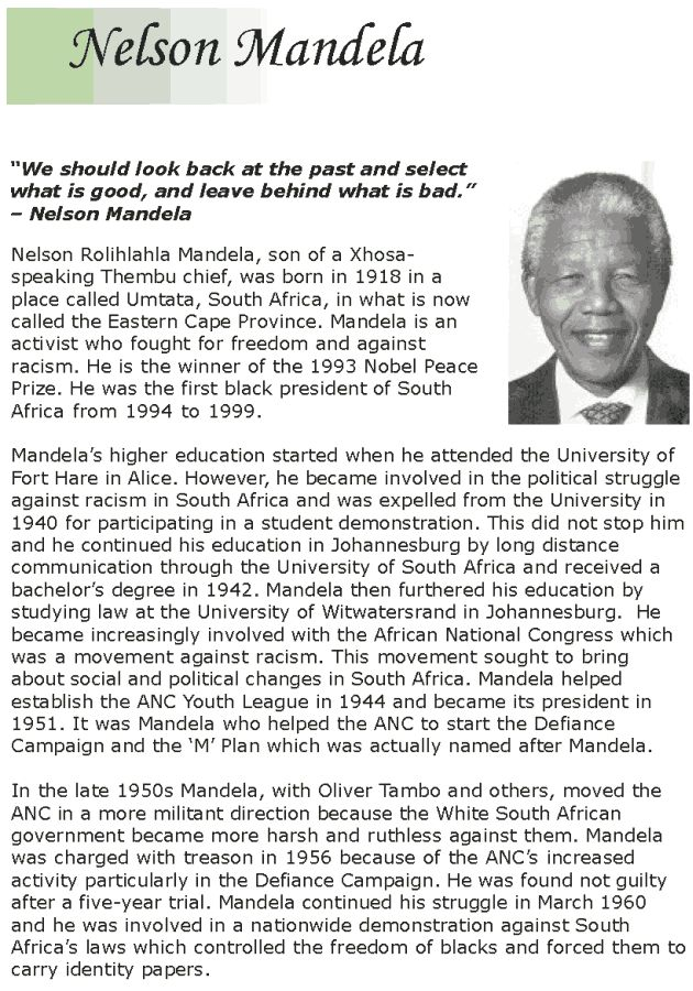 Grade 7 Reading Lesson 14 Biographies Nelson Mandela 1