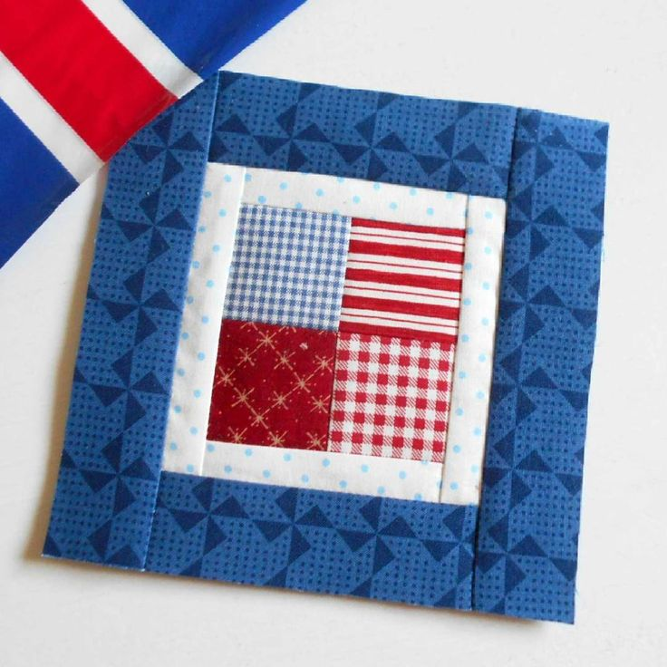 Block 66 - Flag Holidays from the Kitchen Window.  This simple block from Farm Girl Vintage book gets the red, white and blue treatment.