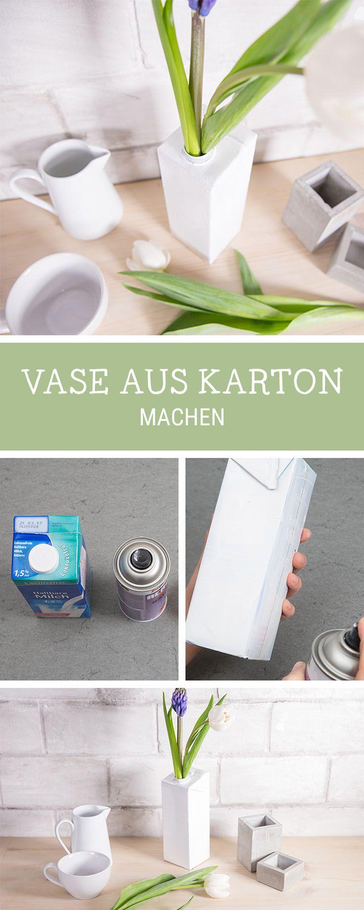 Upcycling-DIY für einen Milchkarton: Wir zeigen Dir, wie Du aus einem Milchkarton eine Vase bastelst / upcycling idea for a milk carton via DaWanda.com