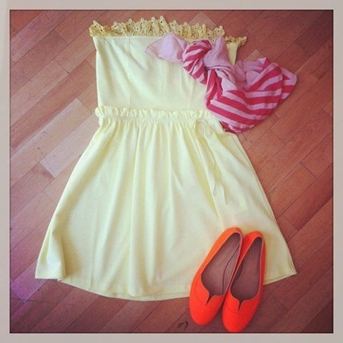 Red Valentino dress, MM6 shoes, Sonia by Sonia Rykiel scarf