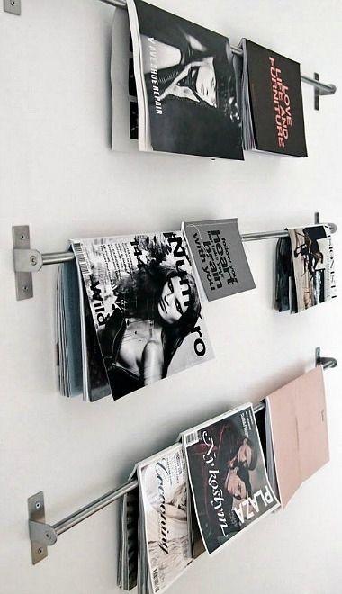 DIY Magazine Rack From IKEA GRUNDTAL Rails