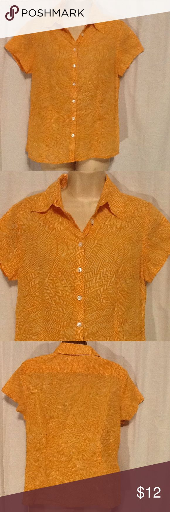 """Coldwater Creek Orange Short Sleeve Top S 6-8 Excellent used condition. Button front. Short sleeve. 100% cotton. Bust is 38"""". Length is 24"""". Posh10. W1D2. Coldwater Creek Tops Blouses"""