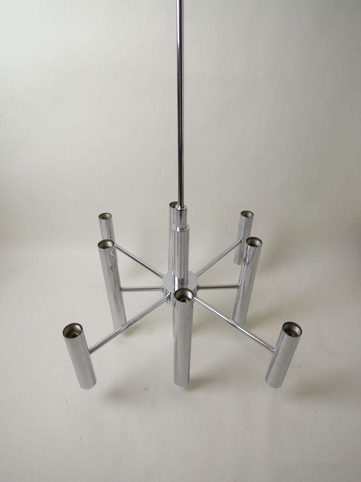 VINTAGE SPUTNIK CHANDELIER LAMP LIGHT CHROME MID CENTURY MODERN ATOMIC 60s 70s