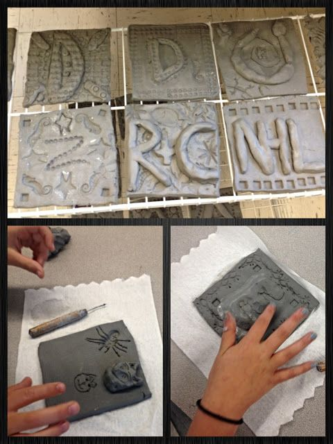 BES Art: Clay Initial Tiles--I was going to do this so am glad to see how it turns out.