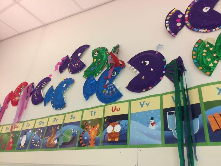 Kunst og håndverk: oppgave om bokstaven f for fisk. Du trenger papptallerkener, maling og pynt som for eksempel paljetter, fjær og silkepapir.