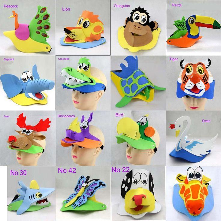 Aliexpress.com: Comprar 2015 nuevo diseño hechos a mano 3D EVA espuma de la historieta animales máscaras para los niños sombrero sombrero mascarada decoraciones del partido de tapa de fútbol fiable proveedores en Yiwu I Do handiwork Co.,Ltd