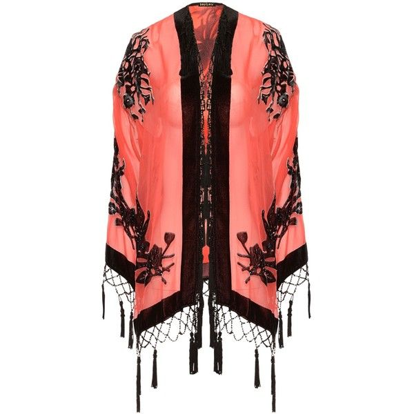 Jayley Red Silk Devore Kimono Jacket found on Polyvore featuring women's fashion, outerwear, jackets, silk kimono, silk kimono jacket, red jacket, red kimono and kimono jacket