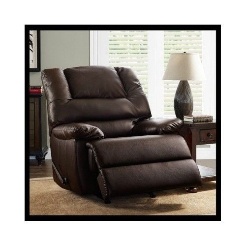 Leather-Recliner-Chair-Sofa-Lazy-Rocker-Upholstery-Lounge-Brown-Furniture-Couch
