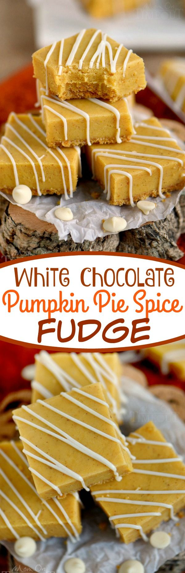 This delightful White Chocolate Pumpkin Pie Spice Fudge is made with real pumpkin, a graham cracker crust, and is topped with a white chocolate drizzle - perfection! Be sure to make a batch for friends and family this year! // Mom On Timeout #pumpkin #fudge #recipe #recipes #chocolate #Thanksgiving #Christmas  #holiday