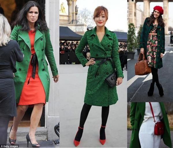 Cappotto verde con tocchi di rosso