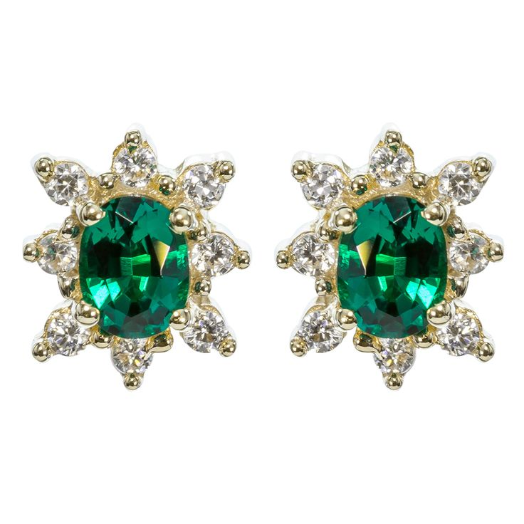 $123 9ct Yellow Gold CZ  Created Emerald Oval Cluster Earrings - purejewels.com.au