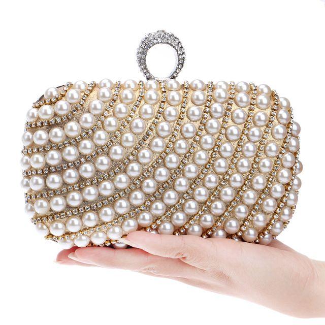 Pérola-jogo cravejado de diamantes saco da noite da noite saco com um saco de diamantes saco de strass dia das mulheres embreagem do sexo feminino de casamento/sacos do partido