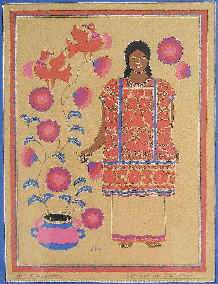 Carlos Merida Screen Print Mexico 16 Mazateca Estado de Oaxaca Framed | eBay
