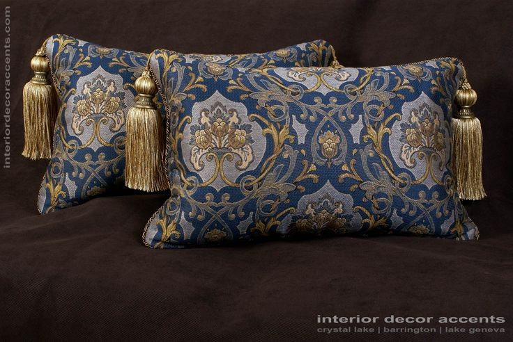 Schumacher elegant brocade castle garden in blue decorative throw pillows with lee jofa backing velvet for traditional, transitional and luxury interior design and timeless home decor accents