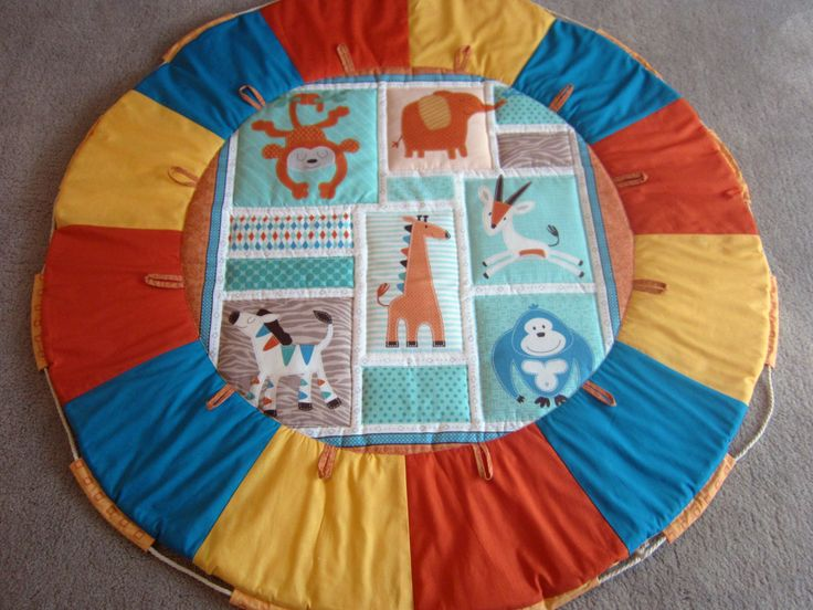 Zoo animals Multi-coloured Quilted Baby play mat and toy carry bag-in-1 by…