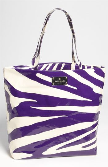 Kate Spade New York 'daycation' coated canvas bon shopper - purple & white - available at Nordstrom.