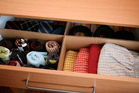 Uma divisória de papelão pode ajudar a organizar as gavetas.  #organization, #home