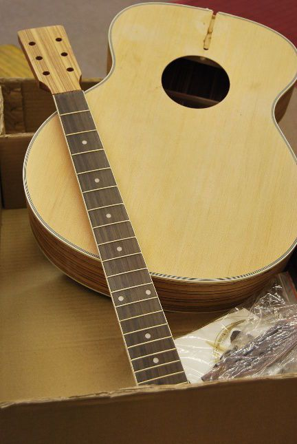 RAS UNFINISHED ZEBRANO WOOD ACOUSTIC GUITAR BUILDER KIT - DIY PROJECT
