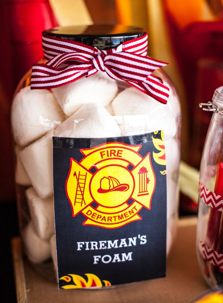 Giant Marshmallows Firemans Foam - Fireman Party Printables #FirefighterPartyPrintablesIdeas