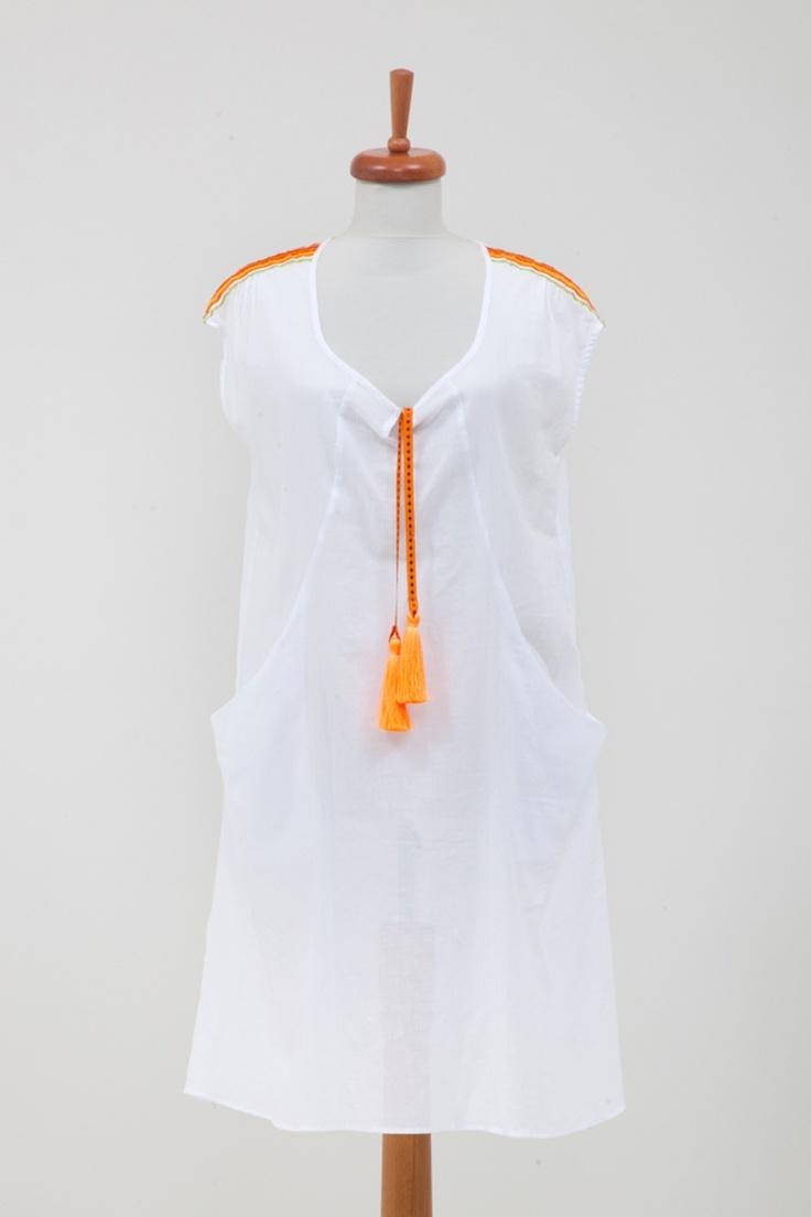"""San Francisco Elbise Oranj - 84.00 TL  Plaja giderken rahatlığı sayesinde en favori elbiseniz olacak. Farklı renkteki püskül seçenekleriyle çok eğlenceli bir ürün."""" One size fits all"""" kalıbı ile 36-40 beden arası vücut tiplerine uygundur. // Moda ZiGi"""