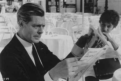 """Marcello Mastroianni & Anouk Aimée in """"Otto e mezzo"""" (""""8½"""") da Federico Fellini"""