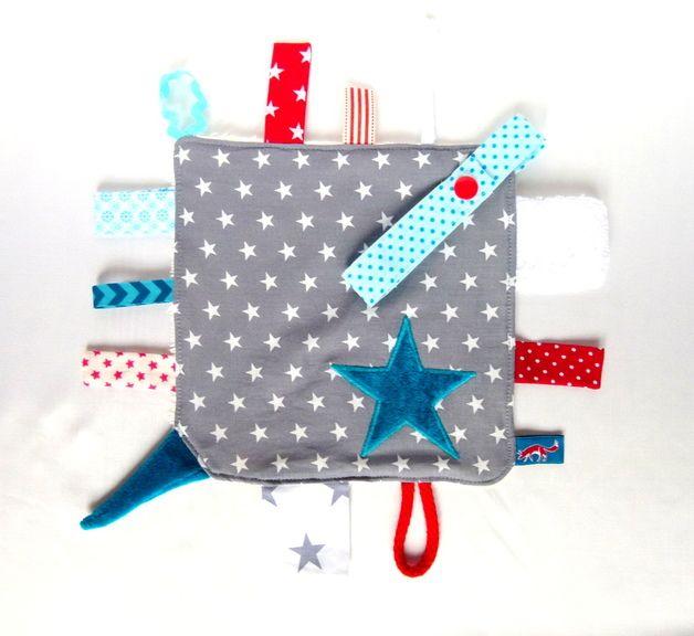 Knistertuch mit Sternen, Geschenk zur Geburt / baby blanket, crackling cloth with stars by Quintus via DaWanda.com