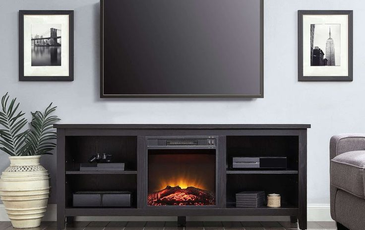 70 Inch TV Stand Entertainment Center Home Theater Black Wood Media Fireplace