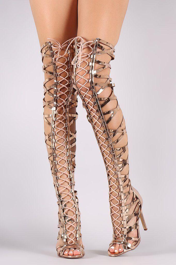 7116d3c97d4 Metallic Patent Strappy Open Toe Lace-Up Gladiator Heel  Stilettoheels