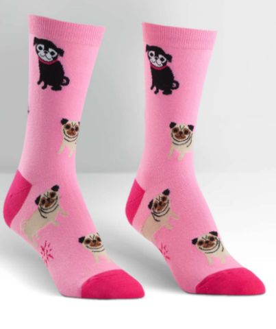 We take our pug love very seriously here at Cute Dose. That's why we made another pug sock. This time in pink! These lovable pups are bringing the pug life to your crew sock. 57% cotton, 41% polyester