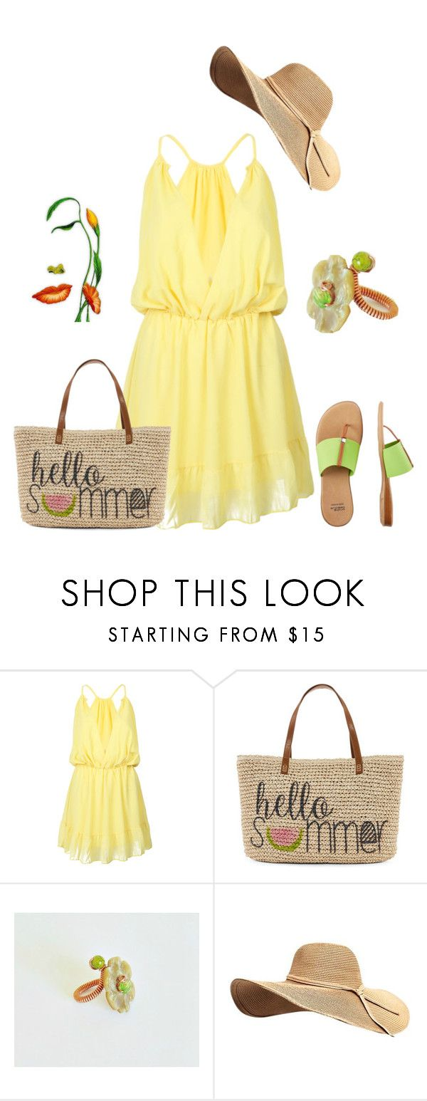 """""""hello summer"""" by styledonna on Polyvore featuring moda, WithChic, Straw Studios i André Assous"""