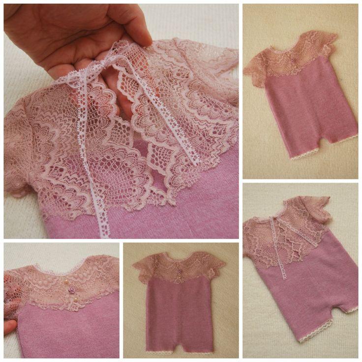 Newborn Romper Prop; Lilac, Lace Girl Romper, Lace Romper Prop; Short Sleeve…