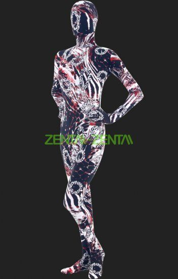 Zentai-zentai.com - Abstract Multicolor Full Body Spandex Lycra Unisex Zentai Suit