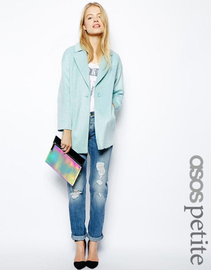 A cocoon coat in a pastel shape is so of-the-moment - jump into the trend with baby pink or this blue ASOS PETITE Fluffy Cocoon Coat