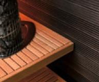 Sauna contrast - dark walls & natural benches