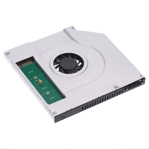 2nd SATA SSD HDD Hard Drive Caddy Adapter 6.0 Gbps with a Cooling Fan for Lenovo Asus HP Dell ACER Laptop with 9.5mm CD/DVD-ROM