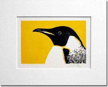 Penguin Linocut by ChickenUniverse