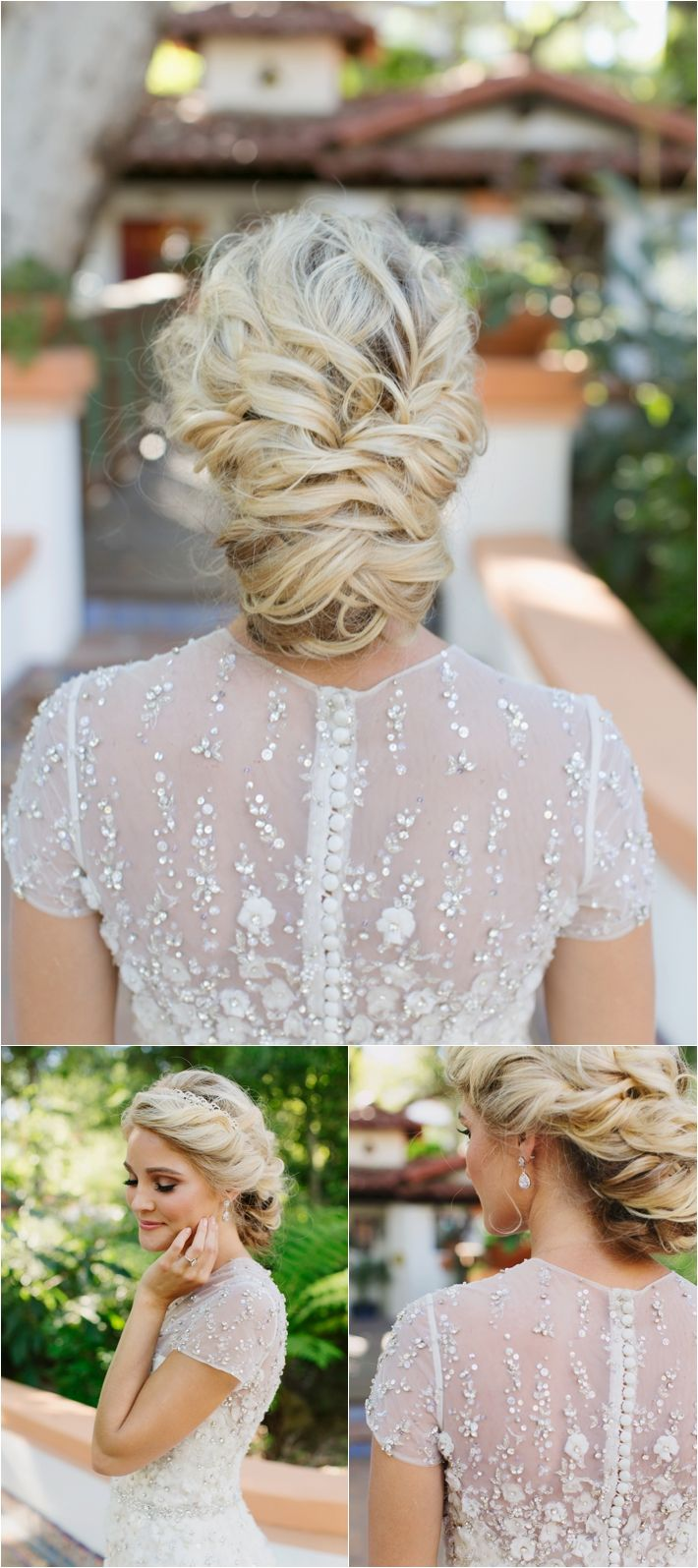 Loose texture wedding braid like updo | Rancho Las Lomas Wedding Inspiration by Damaris Mia Photography