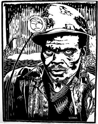 Miner, Velile Soha. Linocut