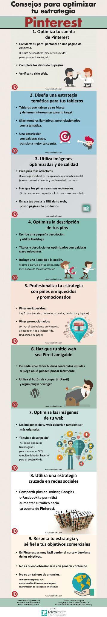 9 consejos para optimizar tu estrategia #Pinterest #infografia #infographic #socialmedia http://wp.me/pxAE1-iA9