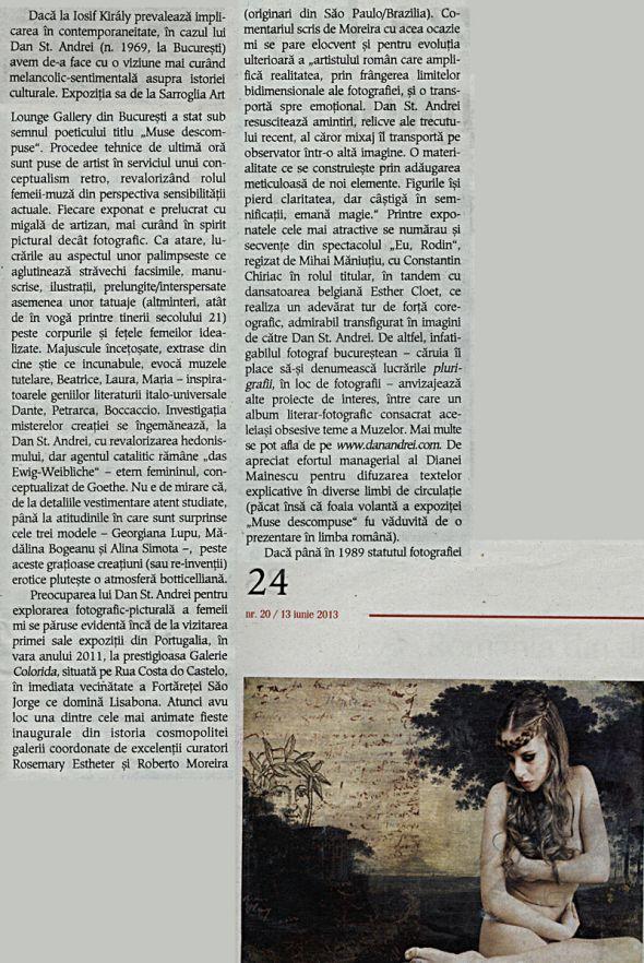 extras dintr-un articol referitor la arta fotografica din Romania, aparut in revista CULTURA nr.20/13 iunie 2013