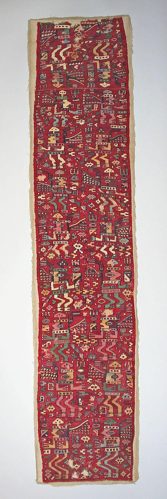 Tunic Fragment  Date:     7th–8th century Geography:     Peru Culture:     Moche-Wari Medium:     Camelid hair, cotton