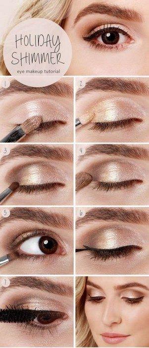 Идеи макияжа, которые выгодно подчеркнут карие глаза / 20. А немного «шампанского» позволит с лёгкостью помолодеть на пару лет