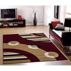 "Ottomanson Dark Red Contemporary Circles Design Area Rug (8'2""x9'10"") New Modern Rug> 277.99"